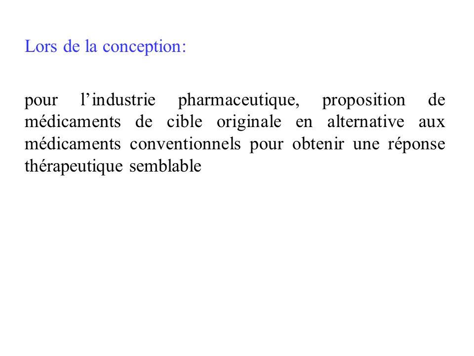 Lors de la conception: pour lindustrie pharmaceutique, proposition de médicaments de cible originale en alternative aux médicaments conventionnels pou