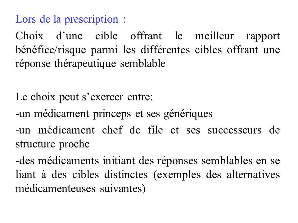 Lors de la prescription : Choix dune cible offrant le meilleur rapport bénéfice/risque parmi les différentes cibles offrant une réponse thérapeutique