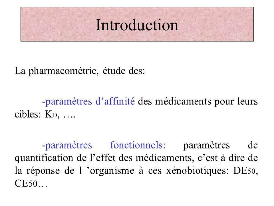 Introduction La pharmacométrie, étude des: -paramètres daffinité des médicaments pour leurs cibles: K D, …. -paramètres fonctionnels: paramètres de qu
