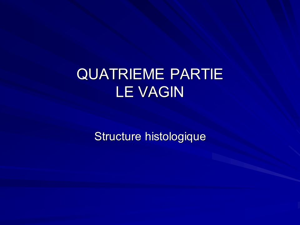 QUATRIEME PARTIE LE VAGIN Structure histologique