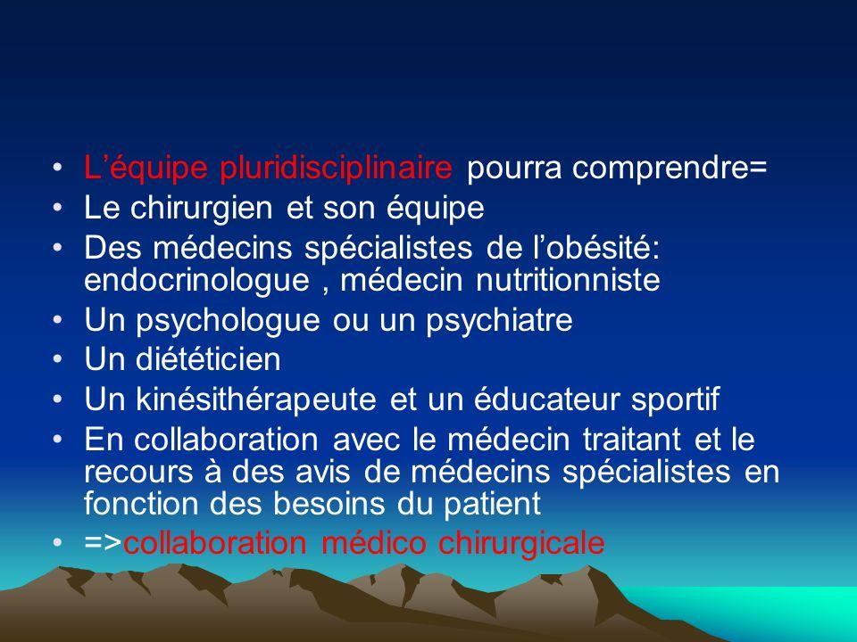 Léquipe pluridisciplinaire pourra comprendre= Le chirurgien et son équipe Des médecins spécialistes de lobésité: endocrinologue, médecin nutritionnist