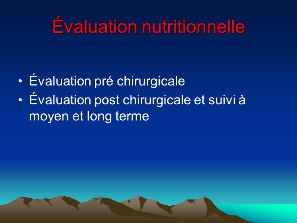 Évaluation nutritionnelle Évaluation pré chirurgicale Évaluation post chirurgicale et suivi à moyen et long terme