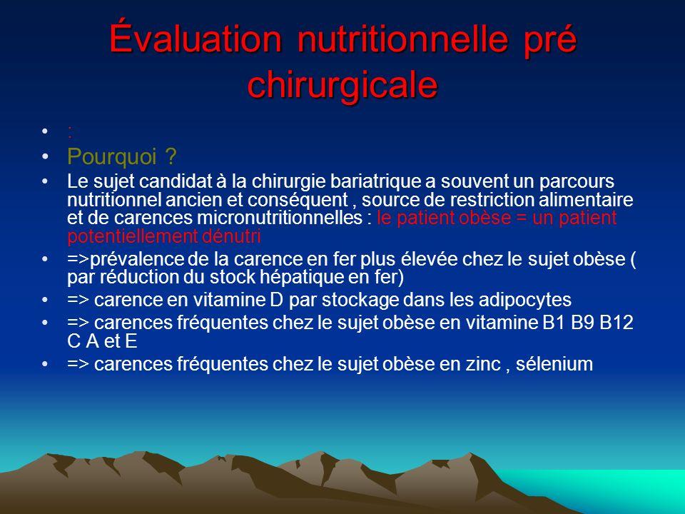 Évaluation nutritionnelle pré chirurgicale : Pourquoi ? Le sujet candidat à la chirurgie bariatrique a souvent un parcours nutritionnel ancien et cons