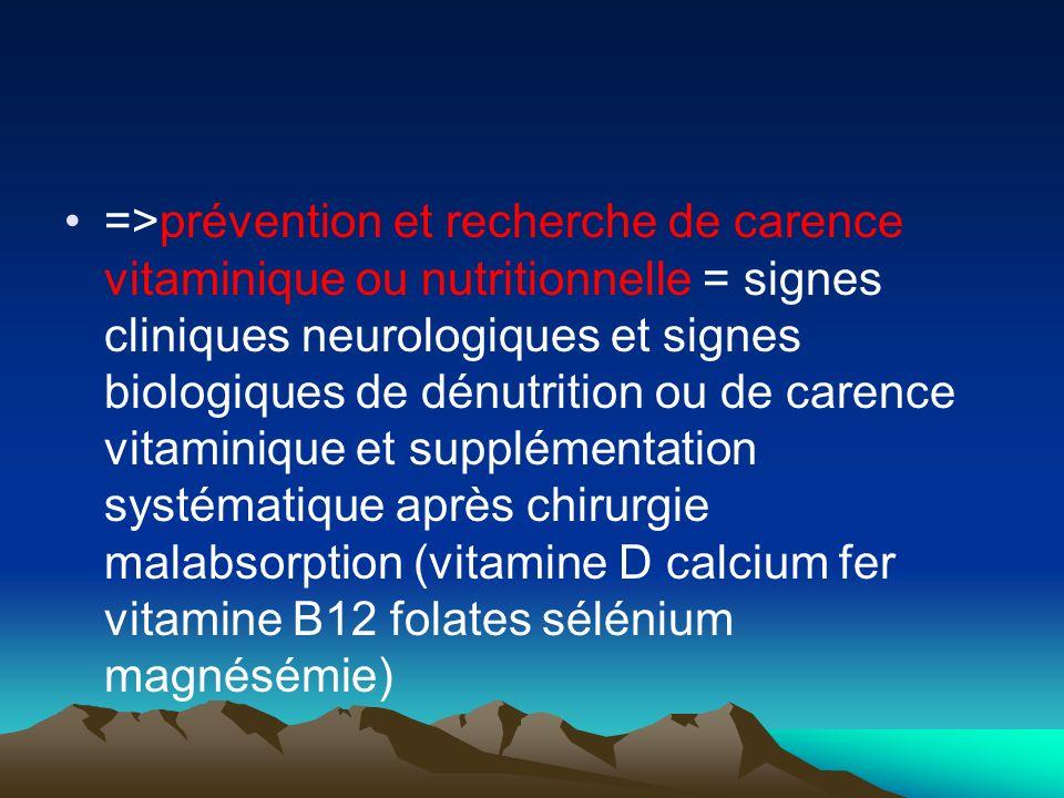 =>prévention et recherche de carence vitaminique ou nutritionnelle = signes cliniques neurologiques et signes biologiques de dénutrition ou de carence