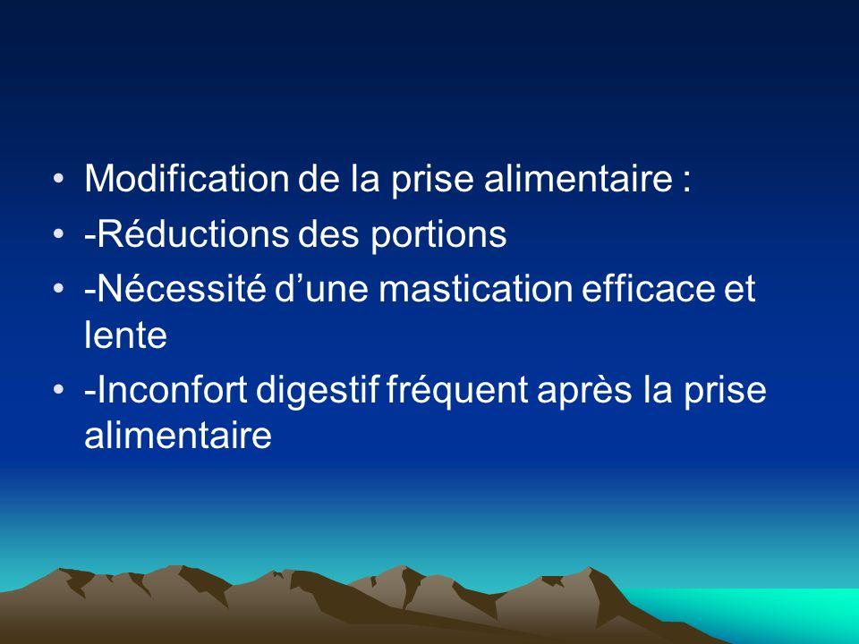 Modification de la prise alimentaire : -Réductions des portions -Nécessité dune mastication efficace et lente -Inconfort digestif fréquent après la pr