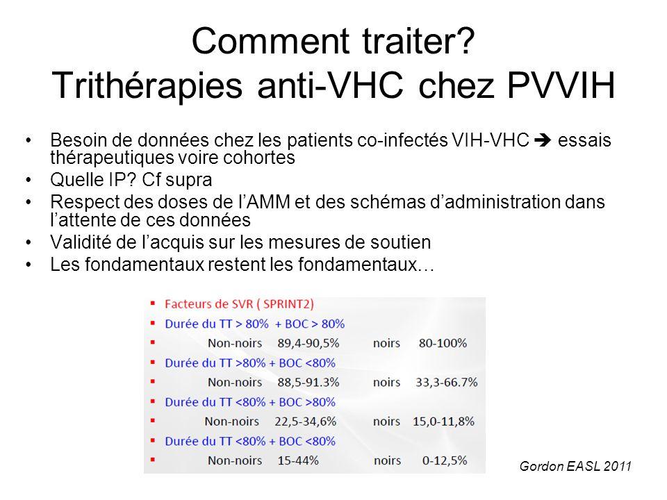 Comment traiter? Trithérapies anti-VHC chez PVVIH Besoin de données chez les patients co-infectés VIH-VHC essais thérapeutiques voire cohortes Quelle