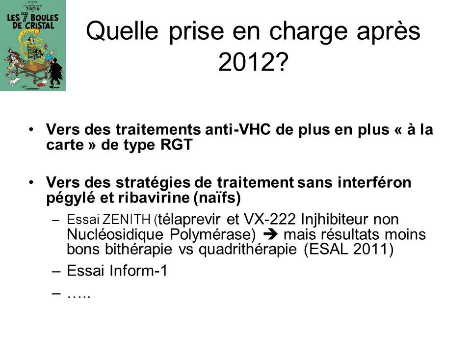 Quelle prise en charge après 2012? Vers des traitements anti-VHC de plus en plus « à la carte » de type RGT Vers des stratégies de traitement sans int