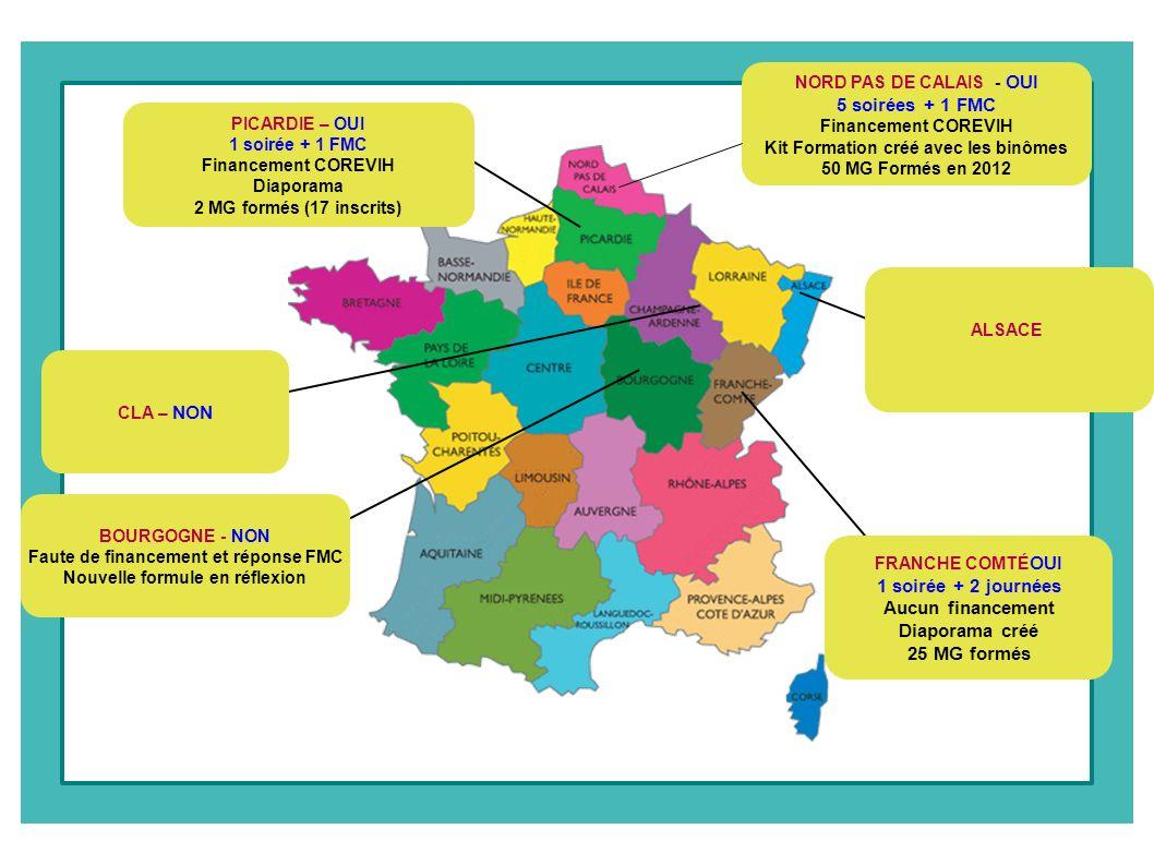 NORD PAS DE CALAIS - OUI 5 soirées + 1 FMC Financement COREVIH Kit Formation créé avec les binômes 50 MG Formés en 2012 ALSACE FRANCHE COMTÉ OUI 1 soi