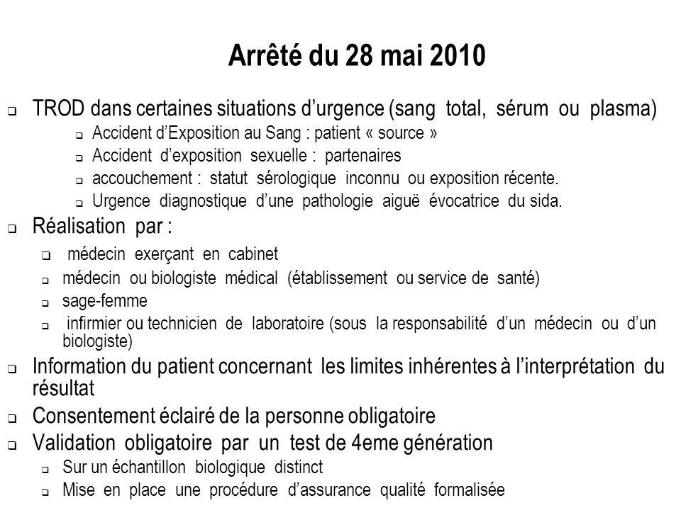 Arrêté du 28 mai 2010 TROD dans certaines situations durgence (sang total, sérum ou plasma) Accident dExposition au Sang : patient « source » Accident
