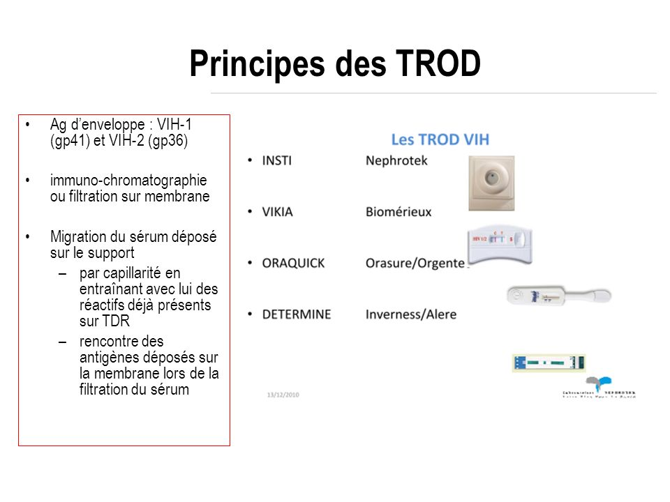 Principes des TROD Ag denveloppe : VIH-1 (gp41) et VIH-2 (gp36) immuno-chromatographie ou filtration sur membrane Migration du sérum déposé sur le sup