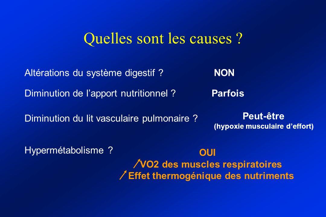 Quelles sont les causes ? Altérations du système digestif ? Diminution de lapport nutritionnel ? Diminution du lit vasculaire pulmonaire ? NON Parfois