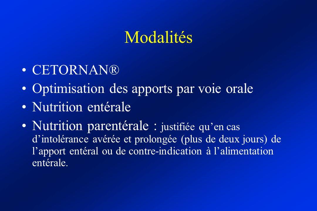 Modalités CETORNAN® Optimisation des apports par voie orale Nutrition entérale Nutrition parentérale : justifiée quen cas dintolérance avérée et prolo