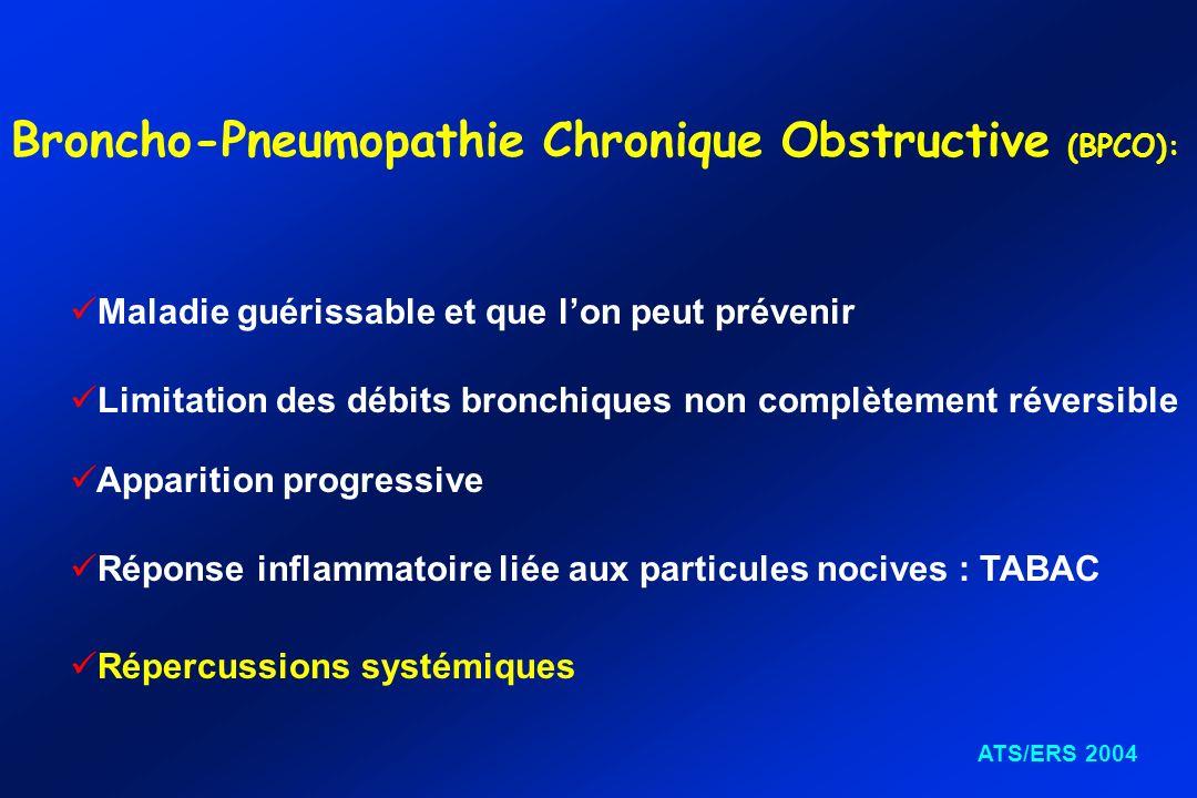 Broncho-Pneumopathie Chronique Obstructive (BPCO): Limitation des débits bronchiques non complètement réversible Maladie guérissable et que lon peut p