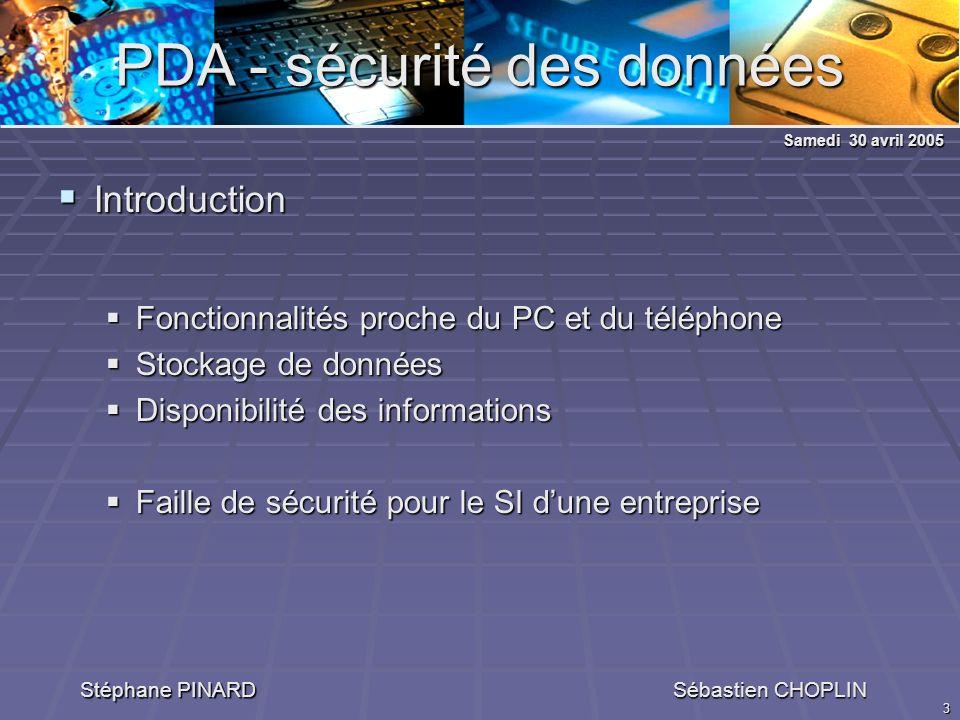 3 PDA - sécurité des données Stéphane PINARD Sébastien CHOPLIN Introduction Introduction Fonctionnalités proche du PC et du téléphone Fonctionnalités