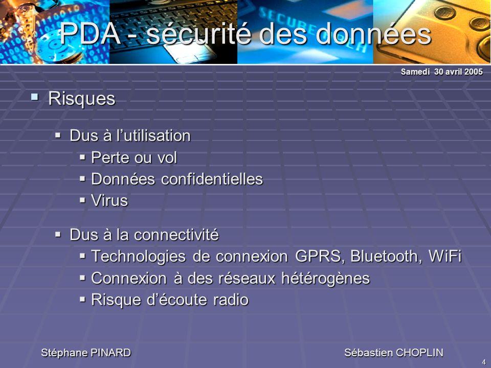 4 PDA - sécurité des données Stéphane PINARD Sébastien CHOPLIN Risques Risques Dus à lutilisation Dus à lutilisation Perte ou vol Perte ou vol Données