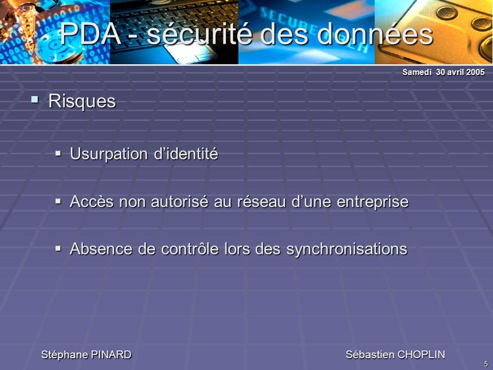 5 PDA - sécurité des données Stéphane PINARD Sébastien CHOPLIN Risques Risques Usurpation didentité Usurpation didentité Accès non autorisé au réseau