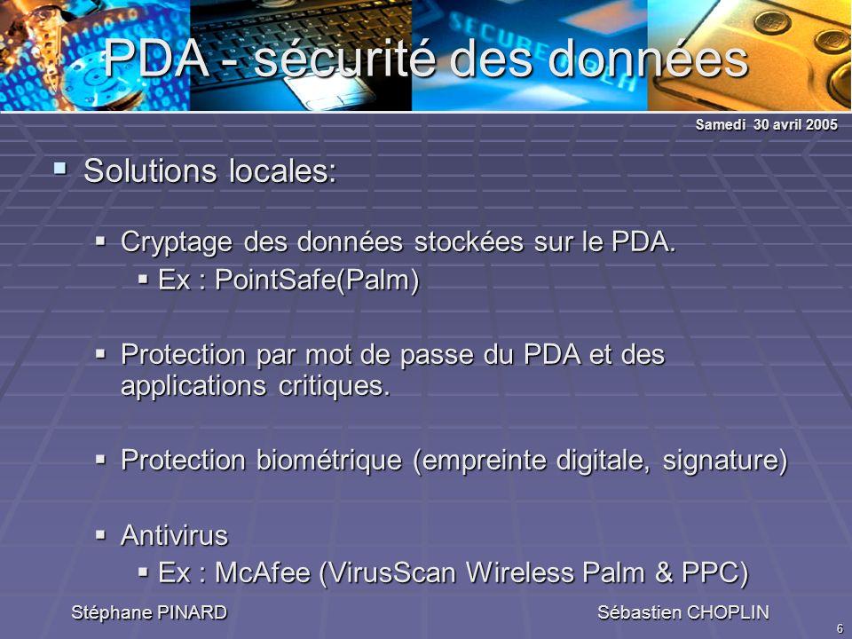6 PDA - sécurité des données Stéphane PINARD Sébastien CHOPLIN Solutions locales: Solutions locales: Cryptage des données stockées sur le PDA.