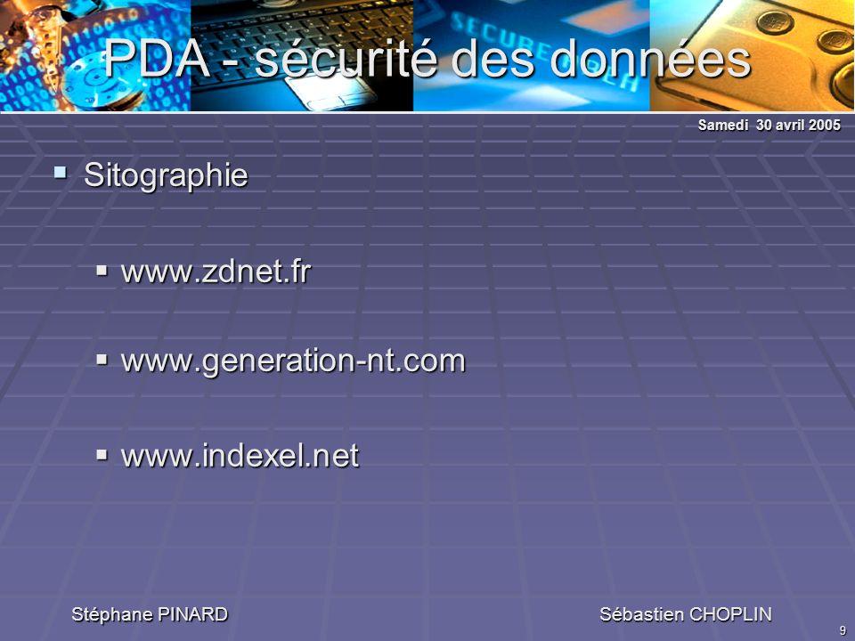 9 PDA - sécurité des données Stéphane PINARD Sébastien CHOPLIN Sitographie Sitographie www.zdnet.fr www.zdnet.fr www.generation-nt.com www.generation-nt.com www.indexel.net www.indexel.net Samedi 30 avril 2005