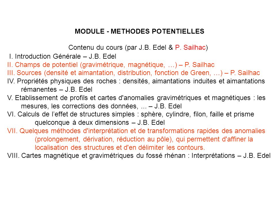 MODULE - METHODES POTENTIELLES R.J.