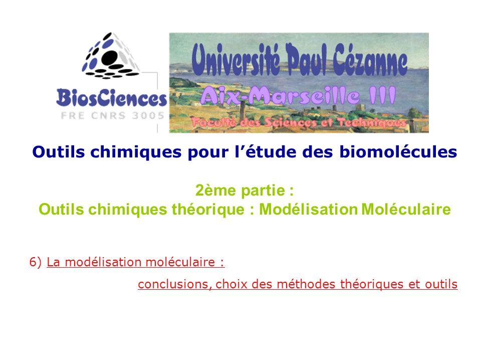 Outils chimiques pour létude des biomolécules 2ème partie : Outils chimiques théorique : Modélisation Moléculaire 6) La modélisation moléculaire : con
