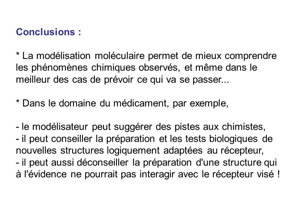 Conclusions : * La modélisation moléculaire permet de mieux comprendre les phénomènes chimiques observés, et même dans le meilleur des cas de prévoir