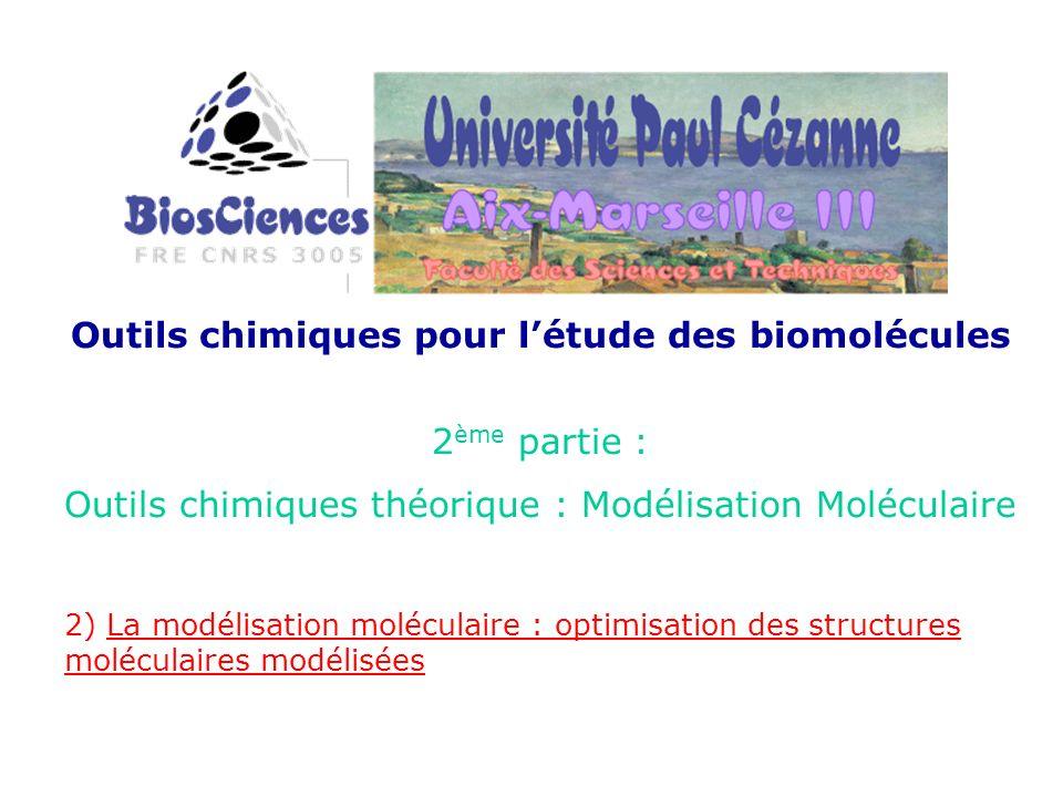 Outils chimiques pour létude des biomolécules 2 ème partie : Outils chimiques théorique : Modélisation Moléculaire 2) La modélisation moléculaire : optimisation des structures moléculaires modélisées