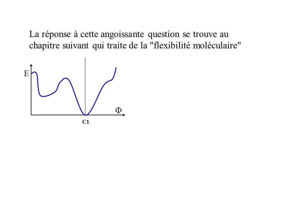 La réponse à cette angoissante question se trouve au chapitre suivant qui traite de la flexibilité moléculaire E C1
