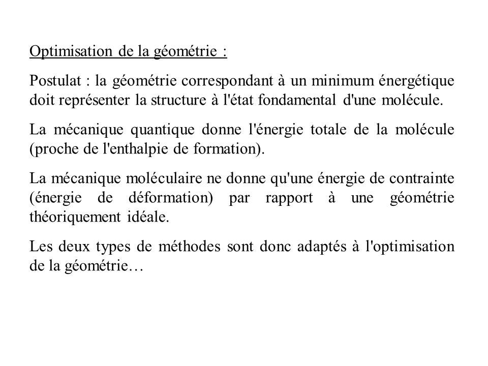 Optimisation de la géométrie : Postulat : la géométrie correspondant à un minimum énergétique doit représenter la structure à l état fondamental d une molécule.