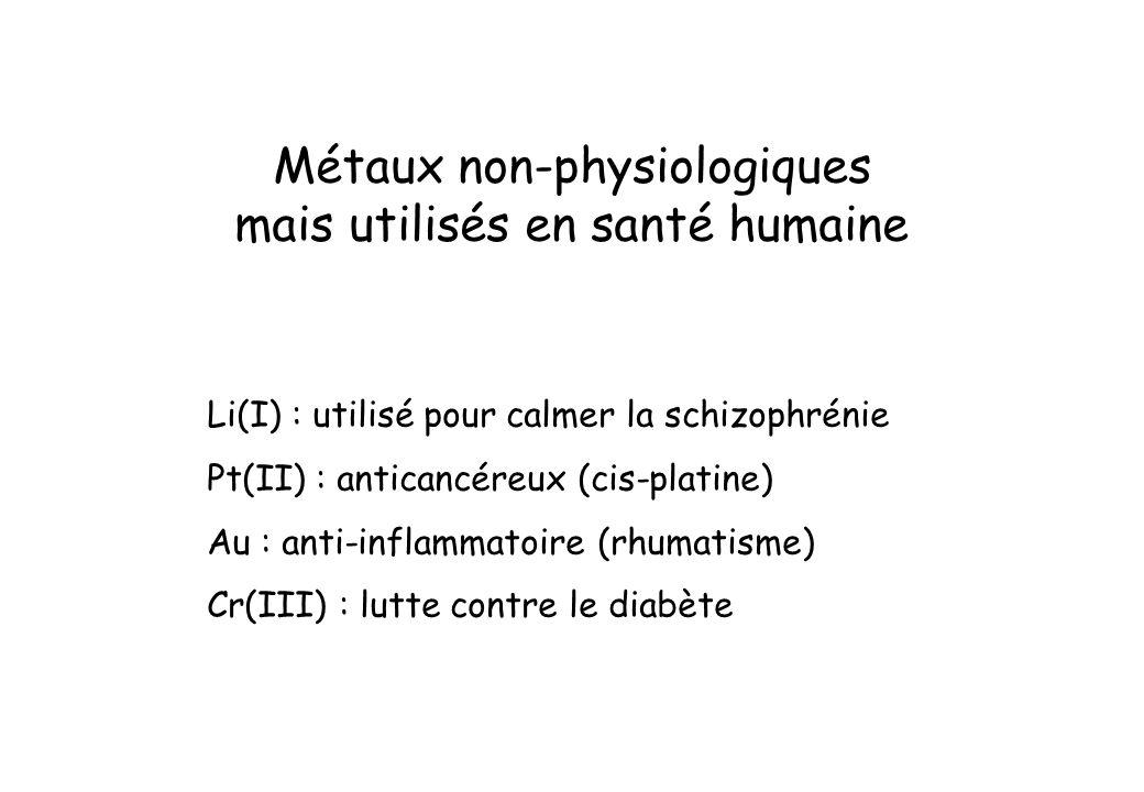 Métaux non-physiologiques mais utilisés en santé humaine Li(I) : utilisé pour calmer la schizophrénie Pt(II) : anticancéreux (cis-platine) Au : anti-i