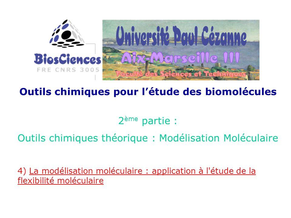 Outils chimiques pour létude des biomolécules 2 ème partie : Outils chimiques théorique : Modélisation Moléculaire 4) La modélisation moléculaire : ap