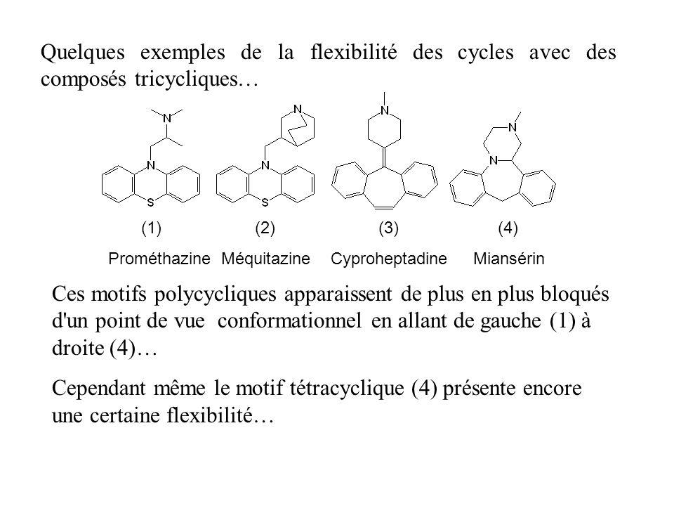 Quelques exemples de la flexibilité des cycles avec des composés tricycliques… Ces motifs polycycliques apparaissent de plus en plus bloqués d'un poin