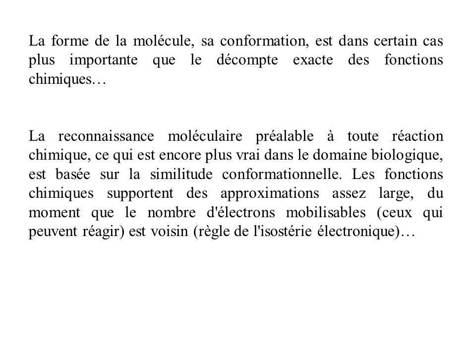 La forme de la molécule, sa conformation, est dans certain cas plus importante que le décompte exacte des fonctions chimiques… La reconnaissance moléc