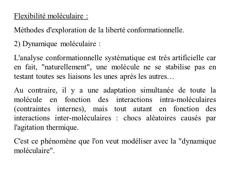 Flexibilité moléculaire : Méthodes d'exploration de la liberté conformationnelle. 2) Dynamique moléculaire : L'analyse conformationnelle systématique