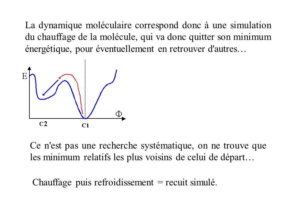 La dynamique moléculaire correspond donc à une simulation du chauffage de la molécule, qui va donc quitter son minimum énergétique, pour éventuellemen