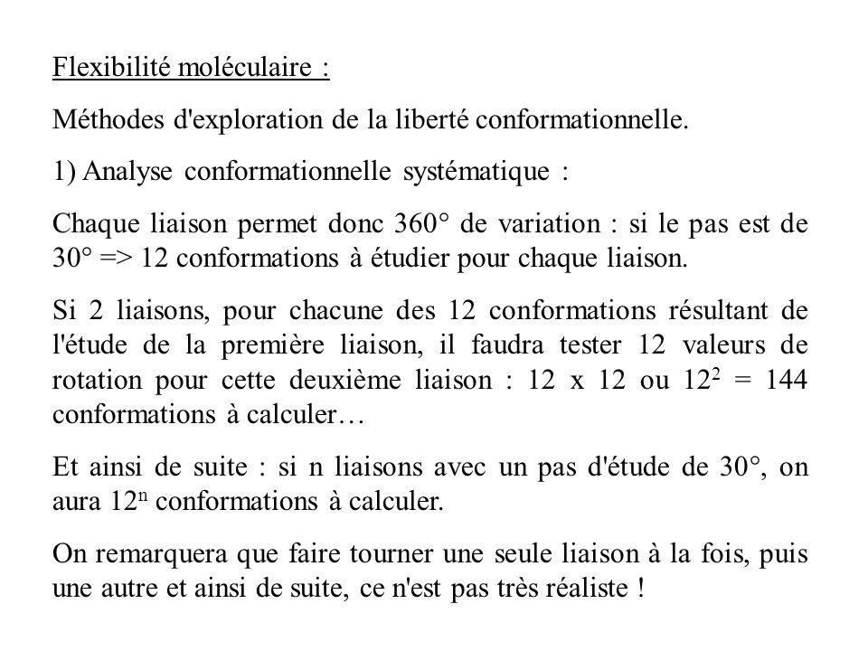 Flexibilité moléculaire : Méthodes d'exploration de la liberté conformationnelle. 1) Analyse conformationnelle systématique : Chaque liaison permet do