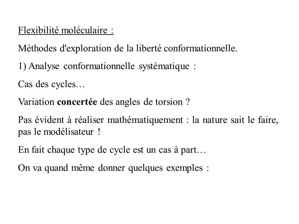 Flexibilité moléculaire : Méthodes d'exploration de la liberté conformationnelle. 1) Analyse conformationnelle systématique : Cas des cycles… Variatio