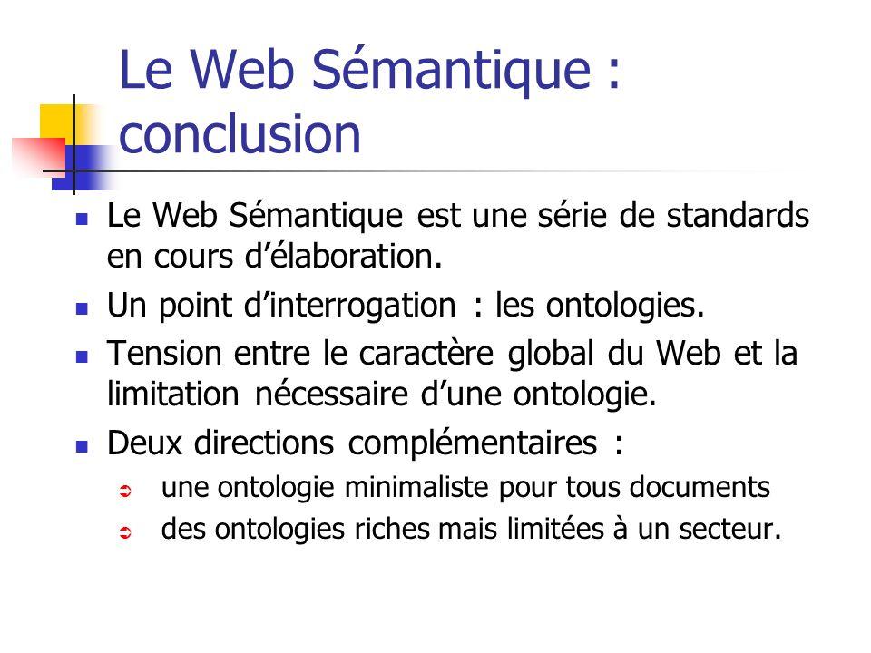 Le Web Sémantique : conclusion Le Web Sémantique est une série de standards en cours délaboration. Un point dinterrogation : les ontologies. Tension e