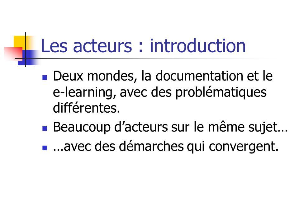 Les acteurs : introduction Deux mondes, la documentation et le e-learning, avec des problématiques différentes. Beaucoup dacteurs sur le même sujet… …