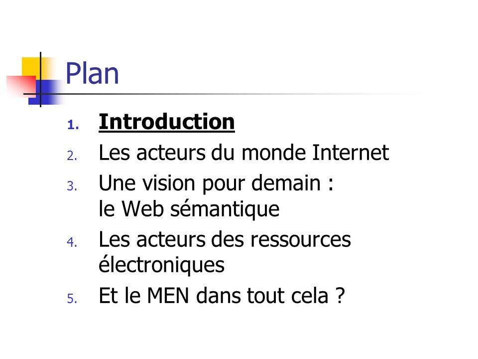 Plan 1. Introduction 2. Les acteurs du monde Internet 3. Une vision pour demain : le Web sémantique 4. Les acteurs des ressources électroniques 5. Et