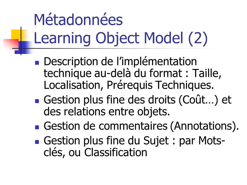 Métadonnées Learning Object Model (2) Description de limplémentation technique au-delà du format : Taille, Localisation, Prérequis Techniques. Gestion