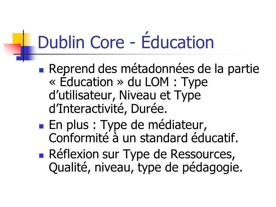Dublin Core - Éducation Reprend des métadonnées de la partie « Éducation » du LOM : Type dutilisateur, Niveau et Type dInteractivité, Durée. En plus :