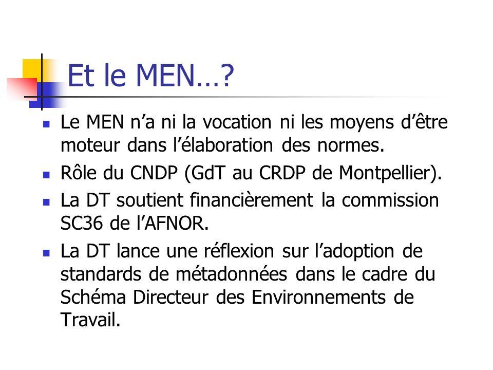 Et le MEN…? Le MEN na ni la vocation ni les moyens dêtre moteur dans lélaboration des normes. Rôle du CNDP (GdT au CRDP de Montpellier). La DT soutien