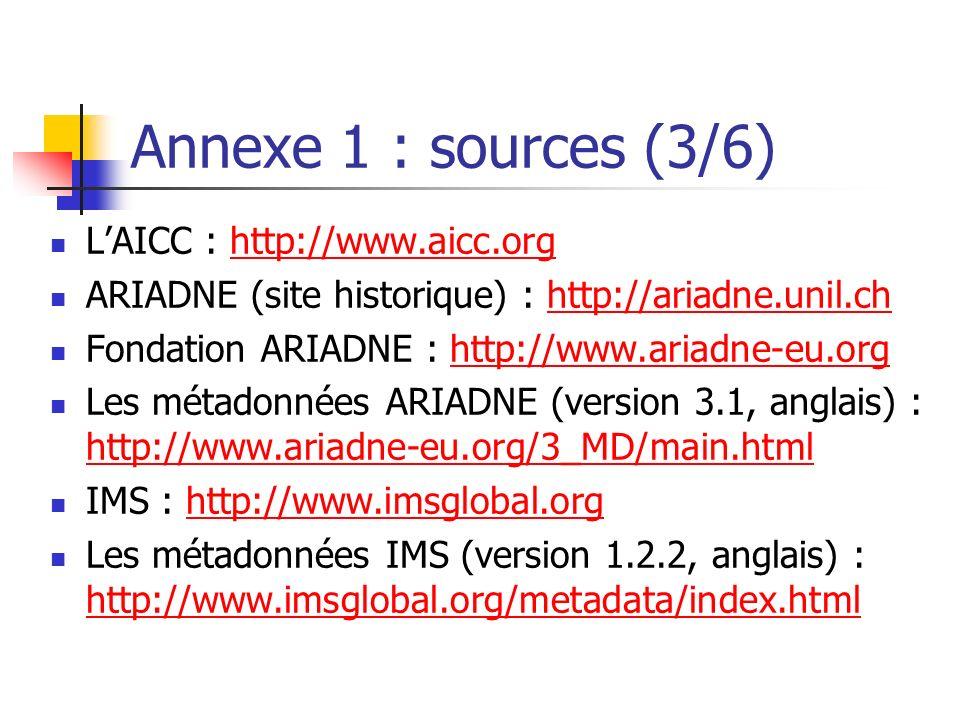 Annexe 1 : sources (3/6) LAICC : http://www.aicc.orghttp://www.aicc.org ARIADNE (site historique) : http://ariadne.unil.chhttp://ariadne.unil.ch Fonda