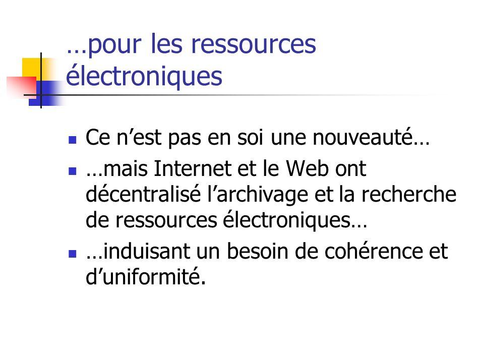 …pour les ressources électroniques Ce nest pas en soi une nouveauté… …mais Internet et le Web ont décentralisé larchivage et la recherche de ressource