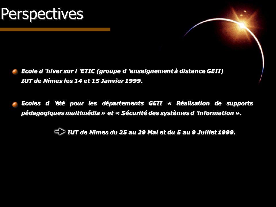Perspectives Ecole d hiver sur l ETIC (groupe d enseignement à distance GEII) IUT de Nîmes les 14 et 15 Janvier 1999. Ecole d hiver sur l ETIC (groupe