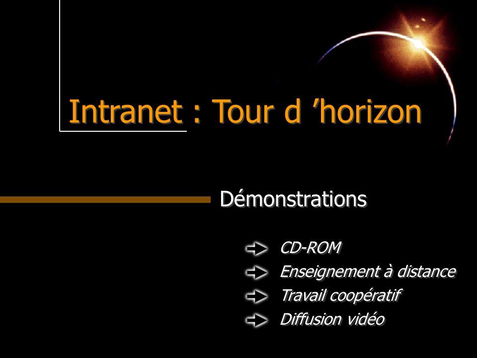 Intranet : Tour d horizon Démonstrations Travail coopératif Diffusion vidéo Enseignement à distance CD-ROM