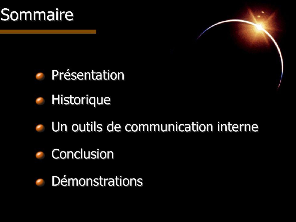 Présentation Historique Un outils de communication interne Conclusion Démonstrations Sommaire