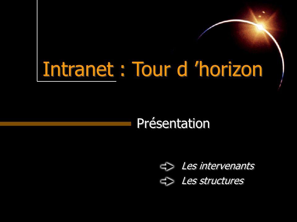 Intranet : Tour d horizon Présentation Les intervenants Les structures