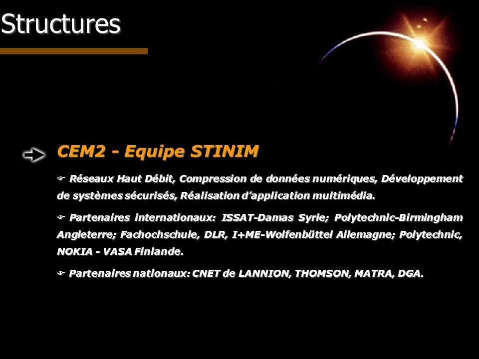 Structures CEM2 - Equipe STINIM Réseaux Haut Débit, Compression de données numériques, Développement de systèmes sécurisés, Réalisation dapplication m