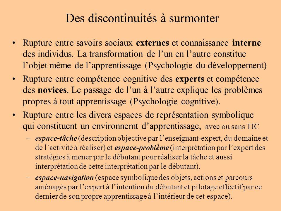 Des discontinuités à surmonter Rupture entre savoirs sociaux externes et connaissance interne des individus.